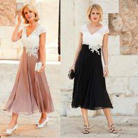 Wholesale mom same dresses for sale - Group buy 2020 Elegant Applique Lace Chiffon Mother of Bride Dresses Evening Party Wear Ankle Length V Neck Short Sleeves Moms Formal Gowns