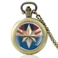 Wholesale captain watches resale online - New Fashion Antique Captain Marvel Quartz Pocket Watch Vintage Men Women Bronze Pendant Necklace Gifts