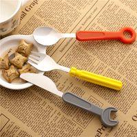 ingrosso coltelli a chiave-3pcs = 1 Set Set di stoviglie in silicone Set di cacciavite a chiave in acciaio inox Coltello da pranzo Forchetta Cucchiaio Utensile da cucina posate