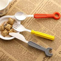 Wholesale wrench knives set for sale - Group buy 3pcs Set Silicone Dinnerware Set Wrench Screwdriver Style Stainless Steel Dinner Knife Fork Spoon Cutlery Kitchen Tool