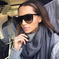 ingrosso occhiali da cucina-Thin Flat Top Sunglasses Donna Luxury Designer Retro Vintage Occhiali da sole Donna Kim Kardashian Occhiali da sole Clear Glass 0166
