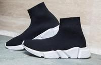 orta yüksek ayakkabı botları toptan satış-Yüksek Kaliteli Orijinal Hız Eğitmeni Rahat ayakkabılar Hız streç-örme Orta erkekler kadınlar için sneakers Üst Çizmeler Rahat ayakkabı Eur 36-45