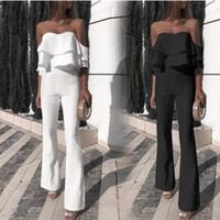 calças de vestido branco sexy venda por atacado-2020 Sexy Preto Branco Mulheres Moda Macacão Babados Plissados Querida Ampla Perna Calças Longas Mulheres Vestido de Festa Usa YL2591