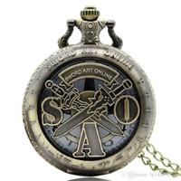 ingrosso movimenti di orologeria giapponese-Vintage SAO Sword Art Online Pocket Watch Importazione preciso movimento al quarzo giapponese Collana in bronzo pendente a catena Fob Hour Clock gioielli regali