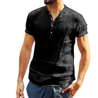 schwarze leinenspitzen großhandel-T-Shirt Männer Baumwolle Leinen Soid Farbe Kurzarm Retro Solid Black Weiß T Shirts Tops Bluse