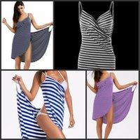 heiße handtücher großhandel-Frauen-Leibchen-Bademantel-lose Art Maxi Strand-gestreifte Kleid-Badetücher Bardian heißer Verkauf mit verschiedener Farbe 18zm J1