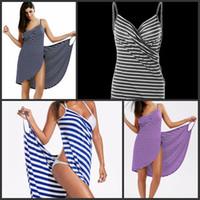 sıcak kadınlar plaj havluları toptan satış-Kadın Kaşkorse Bornoz Gevşek Tipi Maxi Plaj Çizgili Elbise Banyo Havlusu Bardian Çeşitli Renk Ile Sıcak Satış 18zm J1