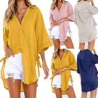 camisa longa comprida feminina venda por atacado-Womens Loose Button Longo Camisa Vestido de Algodão Senhoras Casuais Tops Menina Com Decote Em V Simples Camisa Casual Blusa Blusas Femininas * Y