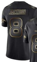 jersey negro de baltimore al por mayor-Camisetas de jersey de Baltimore 8 para hombre 2020 Camisetas de fútbol americano para hombre Vapor Limited Black Golden Jersey