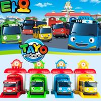 oyuncak otobüsler 32 toptan satış-[TOP] 4pcs / set Ölçekli modeli Tayo küçük otobüs çocuklar minyatür otobüs bebek oyuncak garaj tayo otobüsü otomobil taşıtları çocuklar oyuncakları