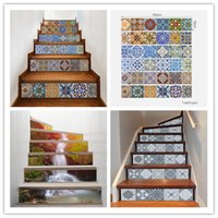 Wholesale sticker tiles for kitchen resale online - 6pcs Ceramic Tile Pattern Stair Stickers DIY Creative Stairway Stickers Self Adhesive Waterproof Stickers Kitchen Ceramic Sticker Home Decor