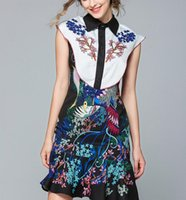 платье стиля русалки оптовых-Французский винтажный стиль Русалка юбка синий флора печатных лето отворотом шеи повседневные платья выше колена