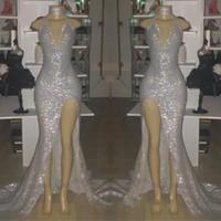 bilder sexy nixe prom kleider großhandel-Echtes Bild Silber Sexy V-Ausschnitt Ärmellos 2019 Abendkleider Halter Backless Mermaid Plus Size Abendkleider Mit Split BC0633