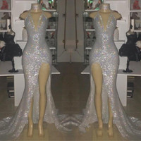 backless vestidos de fiesta de plata al por mayor-Imagen real de plata Sexy con cuello en V sin mangas 2019 vestidos de baile Halter sin espalda sirena más tamaño vestidos de noche con Split BC0633