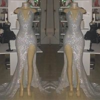 Wholesale photo image art online - Real Image Silver Sexy V Neck Sleeveless Prom Dresses Halter Backless Mermaid Plus Size Evening Gowns With Split BC0633