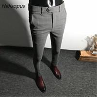 calça preta colete cinza venda por atacado-Helisopus Vestido Calças Dos Homens Cor Sólida Slim Fit Masculino Social Business Casual Skinny Terno Calças