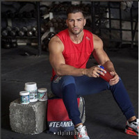 Wholesale shirt muscle xxl online – design summer Men Running Tank Top Gym Vest Racerback Bodybuilding Muscle Fitness Sleeveless T shirt For Male Man Jogger