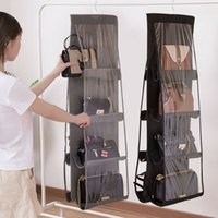 Wholesale handbags rack for sale - Group buy 6 Pocket Folding Hanging Handbag Purse Storage Large Clear Holder Anti dust Organizer Rack Hook Hanger