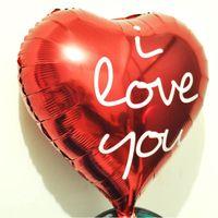doğum günü kalp balonları toptan satış-Seni seviyorum folyo balonlar helyum doğum günü partisi mektubu parti folyo Alüminyum kırmızı kalp balonlar düğün Dekorasyon Malzemeleri