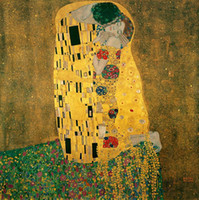Wholesale gustav klimt oil hand paintings resale online - The Kiss by Gustav Klimt Hand Painted HD Print Famous Abstract Art Oil Painting Wall Art Home Deco On High Quality Canvas p186
