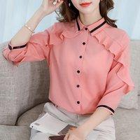 ingrosso moda femminile elegante coreana delle donne-Fashion Office Ladies Button Shirts Camicette eleganti in chiffon con maniche a 3/4 a maniche corte Camicetta estiva estiva da donna Blusas