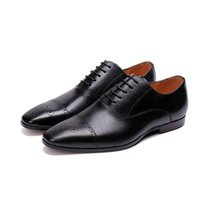 Wholesale england pointed business shoes resale online - Men brogues Genuine Leather male paty prom shoes Business England Style Handmade Oxford Shoes Men Spring Bullock Carved Shoes
