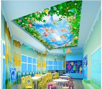Wholesale painted flowers for walls chinese online - WDBH d ceiling murals wallpaper custom photo Little angel of flowers painting bedroom home decor d wall murals wallpaper for walls d