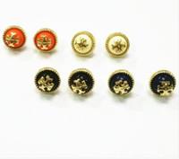 ingrosso perla t-Lettera T marchio diamante Orecchini a perno lucido marchio europeo e americano in lega d'argento dorato Lady Pearl Gocce rotonde Orecchini gioielli di marca