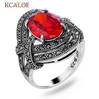 grandes anillos de diamantes de imitación para las mujeres al por mayor-Anillos de cristal rojo de la vendimia KCALOE Para Bagues joyería del banquete de boda de las mujeres S925 Negro de plata del Rhinestone de los anillos grandes señoras Pour Femme