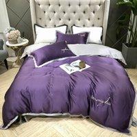 kore tekstilleri toptan satış-Tekstil yaz Kore tarzı Yeni stil yatak seti cilt işlemeli düz renk sevimli basit 4-piece yatak seti Toptan