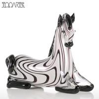 ingrosso mini figurine animali-Tooarts Figurine Zebra Mini Ornamento di vetro Animale Figurina moderna Accessori per la casa Decorazione a mano Decorazioni per la casa Bianco nero