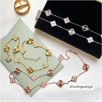 Wholesale gold leaf clover pendants for sale - Group buy Four Leaf Clover Zircon Gold Pendant LONG Necklace Brand Luxury Designer Jewelry WOMEN with Stamp