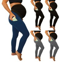 Wholesale pants for maternity resale online - 2019 Solid color Stitching Long Elastic High waist Side pockets Seamless Stretch Casual Pants For Maternity Pregnancy Women S XL