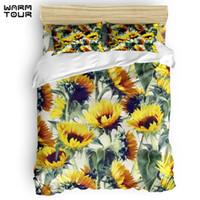 Wholesale cotton sunflower bedding sets resale online - WARMTOUR Duvet Cover Sunflowers Forever Duvet Cover Set Piece Bedding Set For Beds DHL Shipping Method