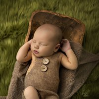 ingrosso fotografia di mohair del bambino-Neonato Puntelli Morbido Mohair Baby Boy Girls Costume infantile bottoni in maglia Pagliaccetto Outfit Baby Puntelli Neonato Fotografia Accessori