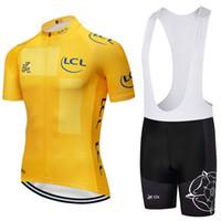 ingrosso set di pullover ciclismo tour france-Tour De France 2019 New Team maglia da ciclista 9D Pad bike shorts da uomo Ropa Ciclismo da ciclismo Maillot Culotte wear