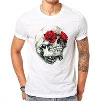 camisas vermelhas dos homens do design venda por atacado-Mens Summer Fashion Rose Red Floral Design Crânio T shirt de alta qualidade 100% algodão Casual gola curta camiseta Tamanho S-3XL