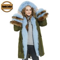 настоящий меховой мех оптовых-Fandy Lokar WaterProof Fabric Jackets Women Real  Fur Parkas Woman Mutil Color Natural Raccoon Fur Coat Female Silver
