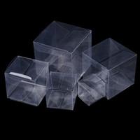 ingrosso scatole di pvc chiare per caramelle-50 Pz / lotto 3x3x3cm-7x7x7cm Bomboniera Decorazione Evento Festa Trasparente Regalo Scatola di Caramelle Scatole di Cioccolato Quadrate PVC