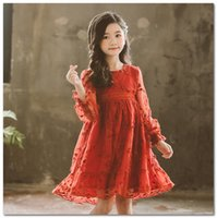Wholesale floral dress mother for sale - Group buy Mommy and daughter matching outfits girls lace floral embroidery princess dreess christmas kids flare sleeve Bows belt party dress J0675