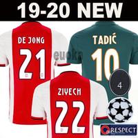 uniformes al por mayor-2019 AJAX camiseta de fútbol de local # 21 DE JONG camiseta de visitante ajax 19/20 # 10 TADIC # 4 DE LIGT # 22 ZIYECH Uniformes de fútbol masculino
