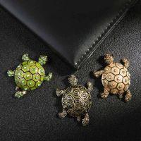 tartarugas de metal venda por atacado-1 PC Vintage Turtle Animal Broche de Metal para As Mulheres Crianças Meninas Lapela Esmalte Pino Moda Jóias Acessórios de Vestuário Bom Presente