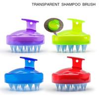 fırça spa banyosu toptan satış-4 stilleri Silikon Şampuan Fırça Şampuan Saç Derisine Masaj Fırça Saç Yıkama Tarak Vücut Bath Spa Zayıflama Masaj temiz Fırçalar Scrubbers FFA2847-