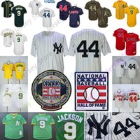 Wholesale cool pullovers resale online - Reggie Jackson Jersey Los Angeles Cooperstown Angels Yankees Oakland MN Athletics Hall Of Fame HOF Pullover Button Flexbase Cool base