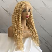 perruques de dentelle de cheveux naturels achat en gros de-Blonde Full Lace Wig Avec Baby Hair Virgin Hair 613 # couleur Bouclés 150% Densité Blanchi Noeuds Cheveux Naturels Front Line Perruques