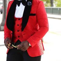 siyah düğün takım kırmızı kravat toptan satış-Yeni Damat Smokin Groomsmen Kırmızı Beyaz Siyah Şal Yaka Best Man Suit Düğün erkek Blazer Custom Made Suits (ceket + Pantolon + Kravat + Yelek) XZ20