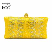 ingrosso frizioni di sera giallo-Boutique De FGG Yellow Diamond Donna Pochette da sposa Minaudiere Borse Crystal Evening Bag Bridal Party Dinner Borse # 744106