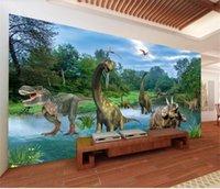 malen foto kulisse großhandel-benutzerdefinierte größe 3d fototapete wohnzimmer wandbild cartoon tier dinosaurier landschaftsmalerei sofa TV hintergrund tapete vlies wandaufkleber