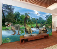 Wholesale photos wedding backdrops resale online - custom size d photo wallpaper livingroom mural cartoon animal dinosaur landscape painting sofa TV backdrop wallpaper non woven wall sticker