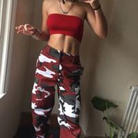 pantalones vaqueros de carga militar al por mayor-Camo Cargo Pantalones para mujer Pantalones casuales Ejército militar Combat Camuflaje Jeans Jeans Pantalón de cintura alta envío de la gota